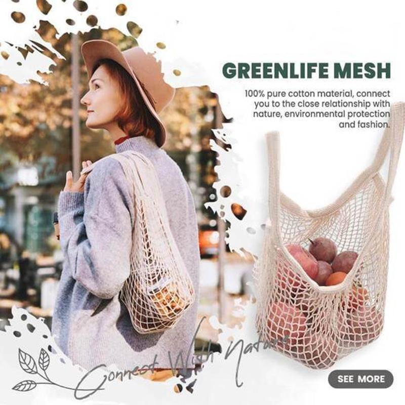 Wiederverwendbare Baumwollnetz-String-Einkaufstasche tragbare faltbare Obst- und Gemüsehandtasche für Frauen-Lebensmittel-Taschen-Taschen u