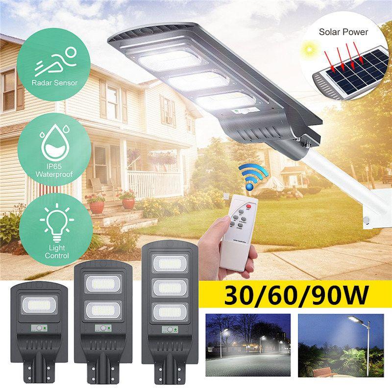 30W/60W/90W LED Solar Street Light Waterproof IP65 PIR Motion Sensor Remote Control Outdoor Lighting Security Lamp