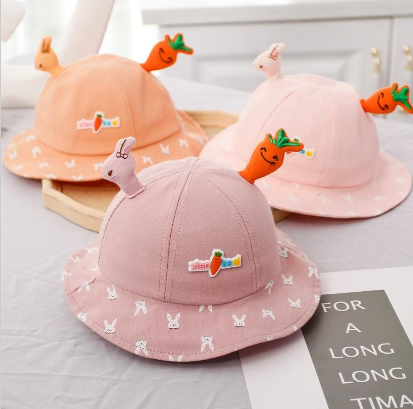Kinder Baby Karotte Stickerei Hut Niedlichen Cartoon Kaninchen Stickerei Eimer Hut Mode Sonnenhut Für Baby Mädchen Jungs