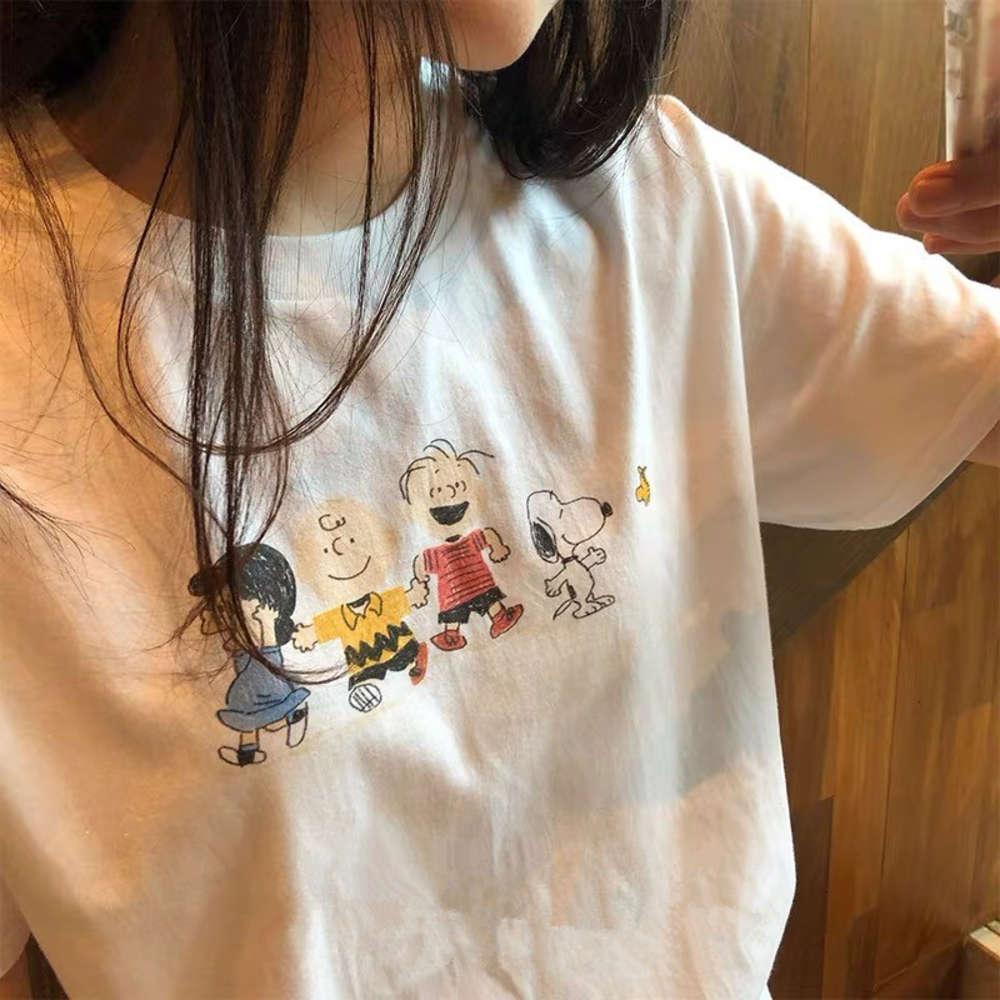 T-shirt de manga curta t-shirt vestido de verão feminino vestido solto e versátil roupa de snoopy