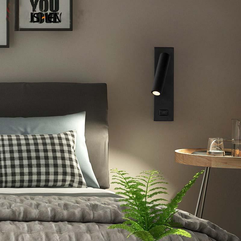 Moderne neue USB-LED-Wandlampe Passage-Korridor-Licht-Dekor für Kopfschlafzimmer Hotel 3W AC85-240V weißer schwarzer Körper