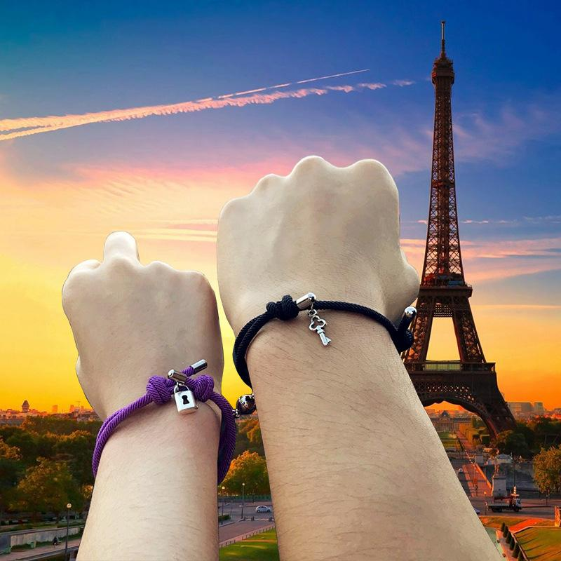 Magnetic Couples Love Lock Key Charm Bracelets Mutual Attraction Relationship Matching Friendship Rope Bracelet Set Gift for Women Men