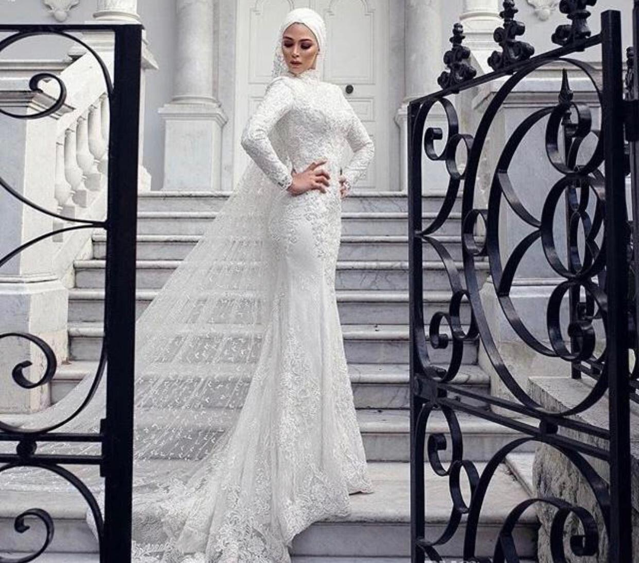 Custom Make Hochzeitskleid Muslim Arabisch Dubai Stil Wunderschöne Meerjungfrau Spitze Perlen Hochzeitskleid mit Turban Schal und Schleier