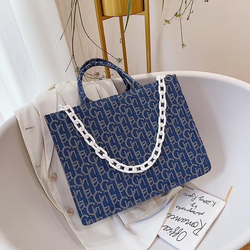 Fashion Large Capacity Canvas Tote Women Shoulder Bag Designer Letter Women's Handbag Chain Big Shopper Bags for Women 2021 Bag C0308