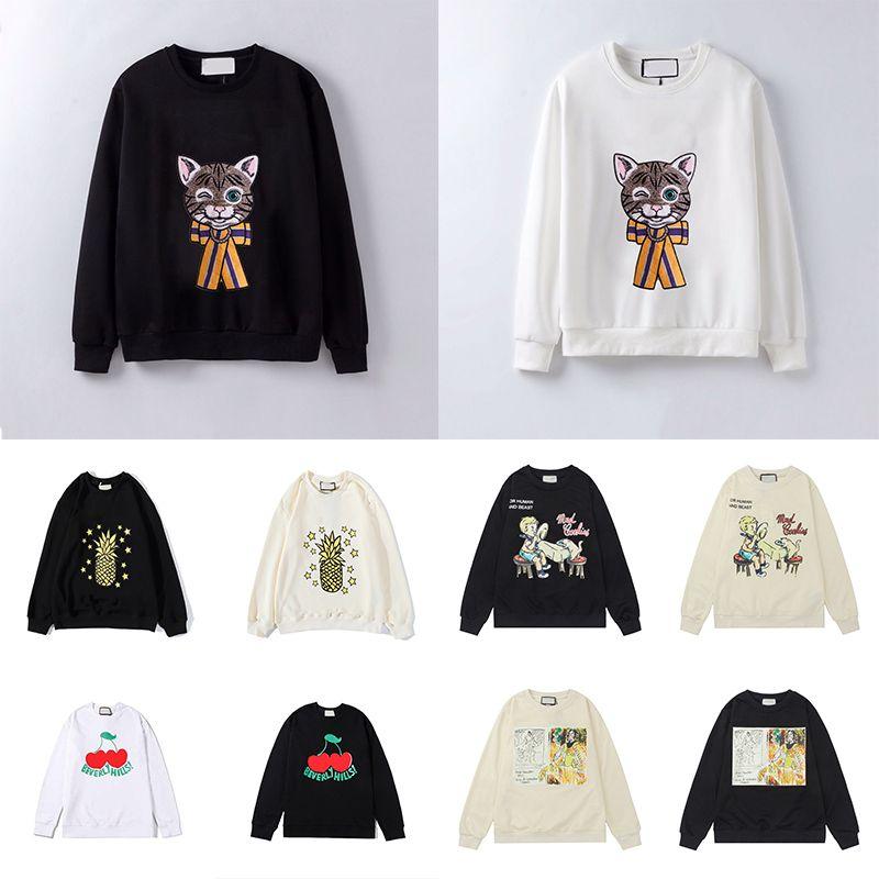 21SS Womens Mens Felpe con cappuccio moda gatto animale autunno e inverno manica lunga manica lunga con cappuccio pullover felpa con cappuccio con cappuccio