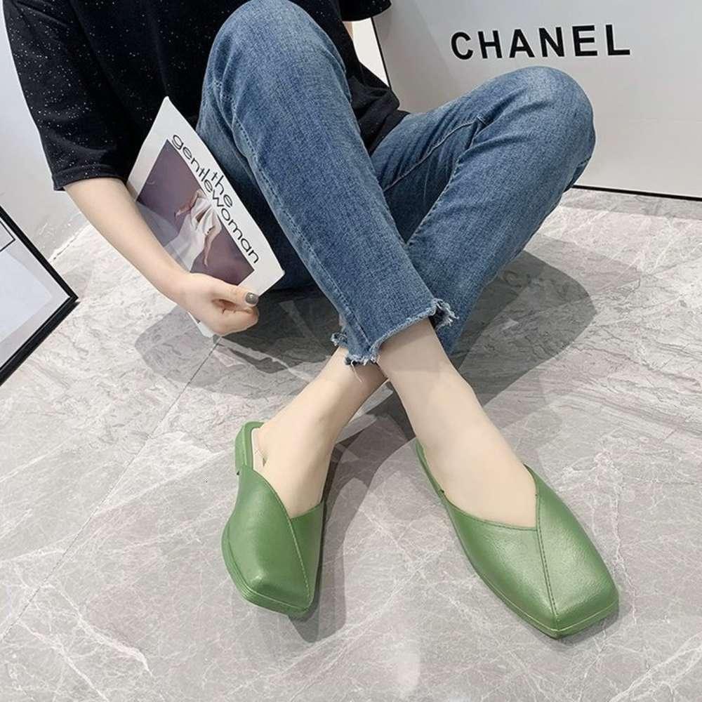 2021 Bahar ve Yaz Yeni Peri Stil Yarım Sürükle kadın Rahat Sandalet Terlik Ev Ayakkabı