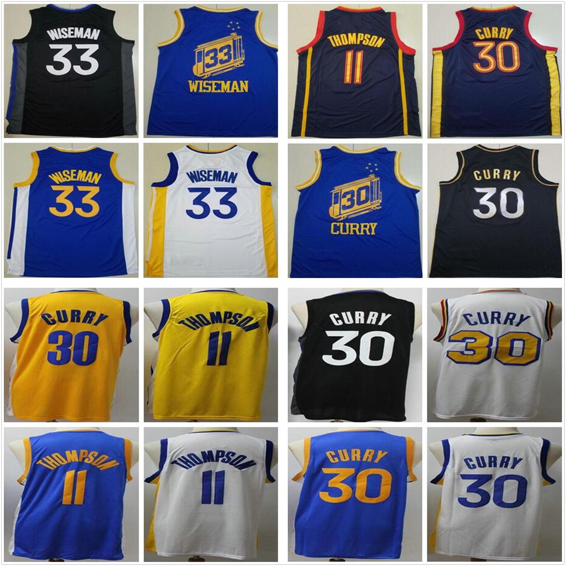 NCAA mens altın stephen 30 köri forması klay 11 thompson devlet savaşçıları mavi beyaz siyah sarı ucuz james 33 wiseman basketbol formaları