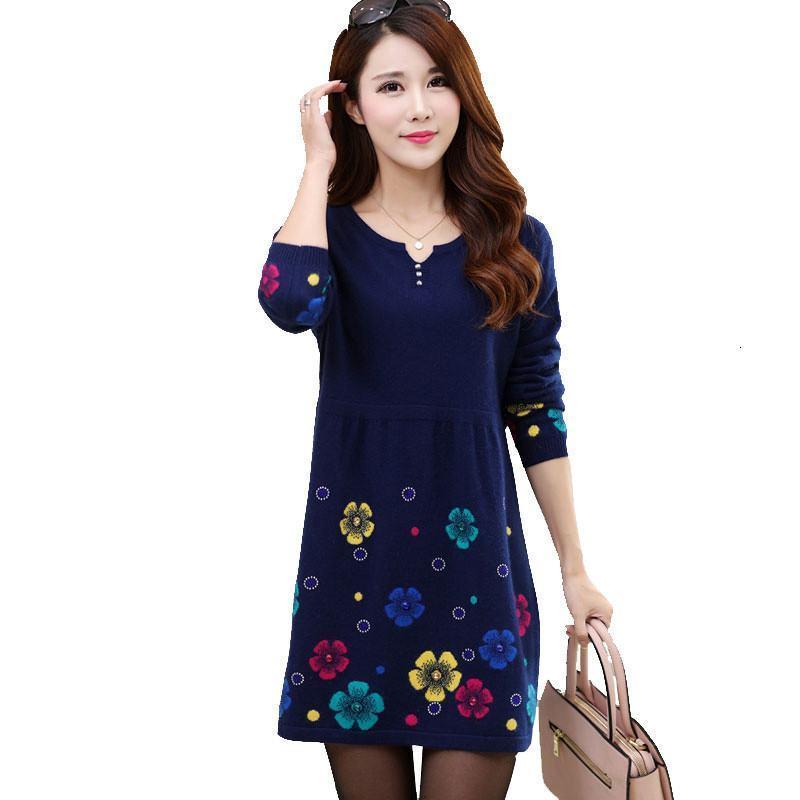 2021 Новая осень зима женские цветочные принт трикотажные шерстяные пуловер трикотаж женский рыхлый вязаный свитер Tops Pull FEMME K172SB81