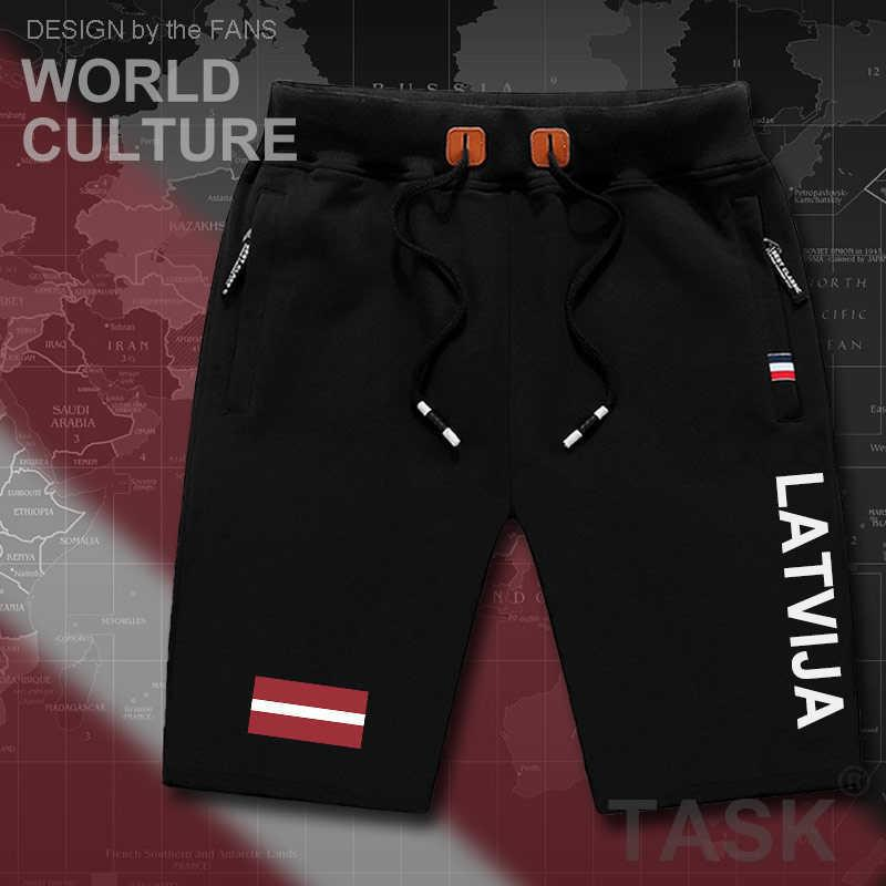 Letonya Latvijamens Şort Plaj Adam erkek Kurulu Şort Bayrağı Egzersiz Fermuar Cep Ter vücut geliştirme Pamuk Yeni Letonya LVA X0601