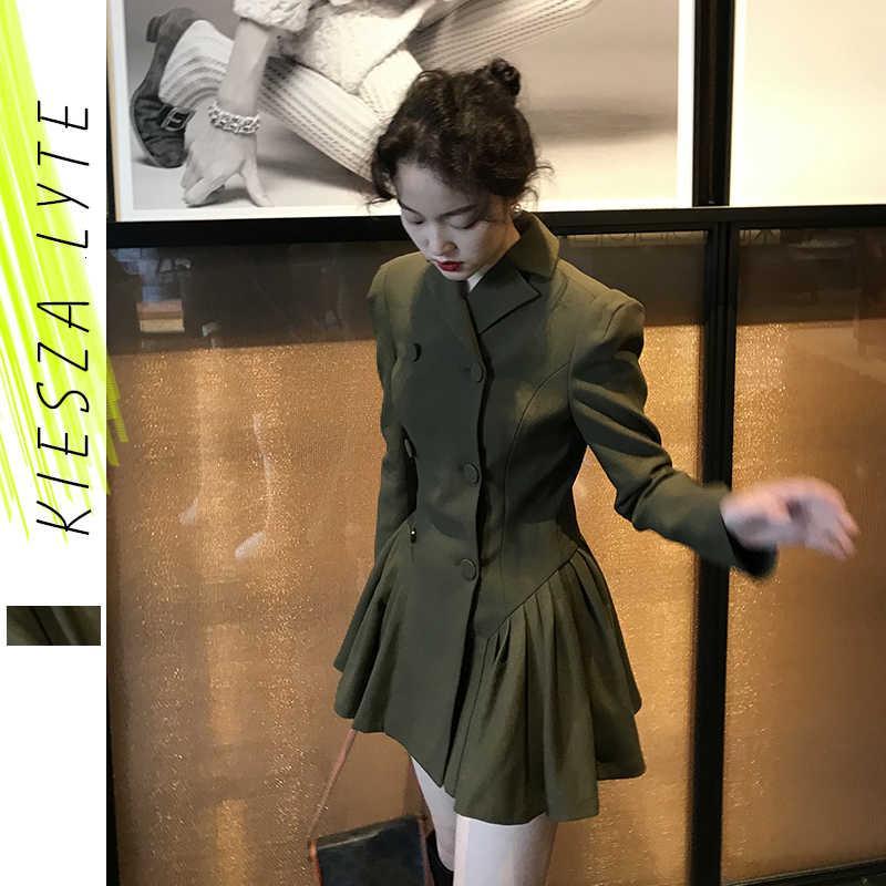 Kiesza Lyte Pak Robe 2021 Récupérer un nouveau style Vintage Long Mouwen Haute Queue Militaire Terrain Vert Mini One Line Robe