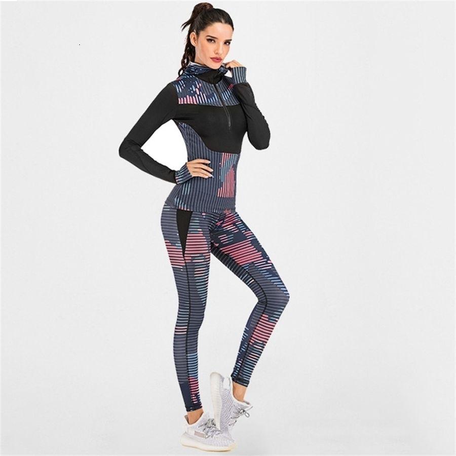 Impressão das mulheres Yoga Set Silm Elastic Sportswear Gym Outdoors Rua Fitness Roupas de Manga Longa Esporte Top Bra Leggings Sports Terno T200412