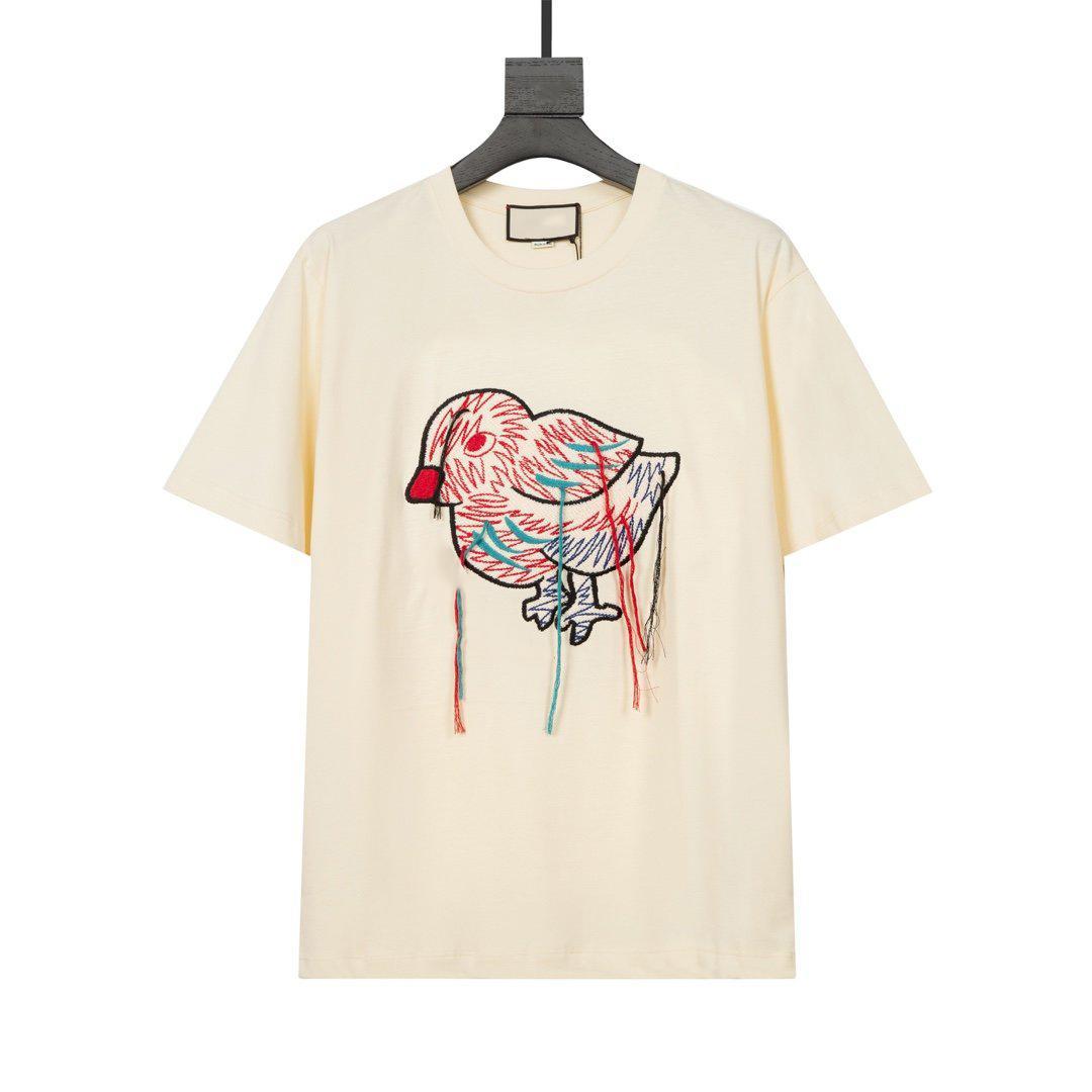 2021 Avrupa Paris son moda nakış kuş mektup baskı tüm maç kadın t-shirt rahat pamuk spor erkek bej beyaz t-shirt