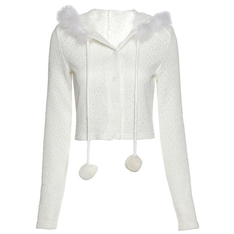 Donne manica lunga maglia con cappuccio cardigan lanuginoso peluche pompon cento maglione cappotto U90e