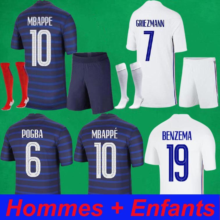 Maillots de Football Benzema 20 21 كرة القدم جيرسي 2021 Mbappe Grizmann Pogba Fekir Pavard Kits Home Away Men's + قمصان أطفال سراويل الجوارب