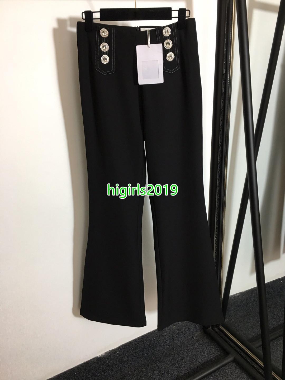 Giras de gama alta niñas Nuevo estilo Pantalones negros con diamantes de imitación Detalles de doble pechuga de rhinestone Pantalones de gran cintura altos S-XL Longitud completa Vogue Capris