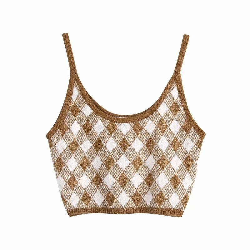 Vintage Şık Kahverengi Argyle Desenleri Camis Kadınlar Seksi Moda Sapanlar Tops Kadın Chic Kaşkorse 210310
