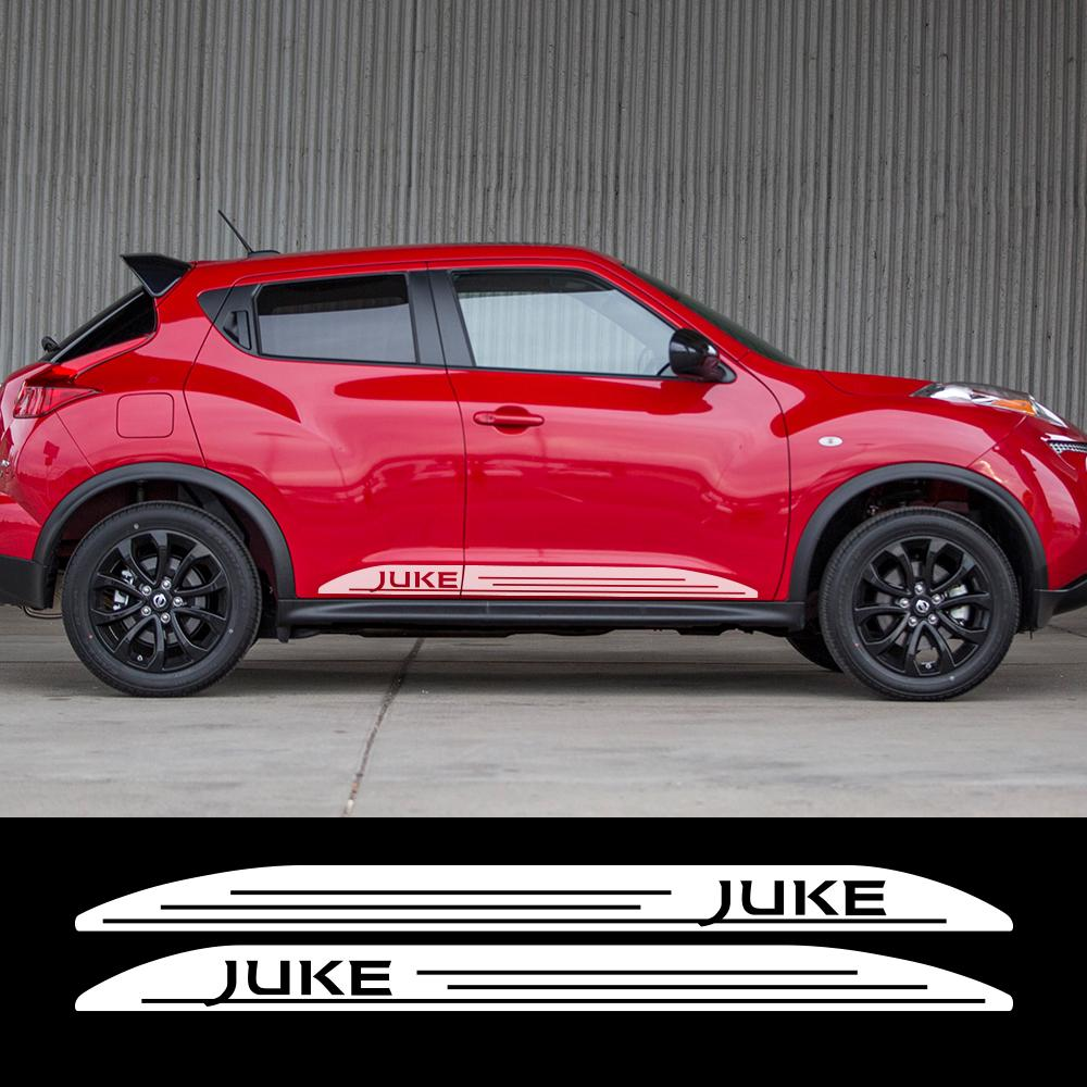 2 قطع لنيسان جوك nismo سيارة باب تنورة ملصقات كلا الجانب سباق الرياضة للماء السيارات الجسم التصميم ضبط اكسسوارات السيارات