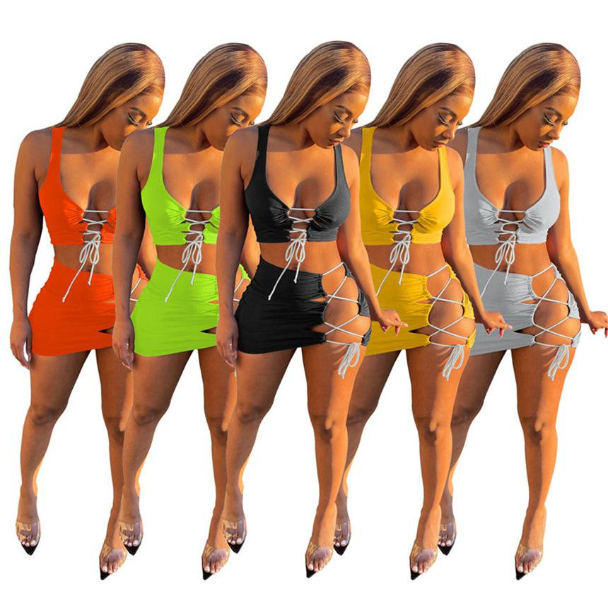 Frauen Sexy Zwei Stück Kleider Spaghetti Strap Crop Top + Mini Röcke Solide Farbe Röcke passt Sommer Kleidung Plus Größe Sportswear 4512