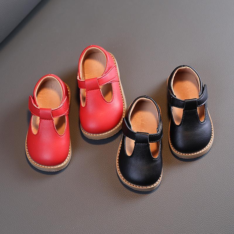 2021 primavera otoño nuevo bebé niñas zapatos de cuero rojo color negro niño pisos niños zapatos casuales vestido princesa
