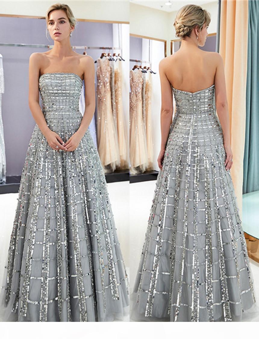Новые 100% реальное изображение серебро серые платья выпускного вечера Sequins Tulle без бретелек женские длинные вечерние платья Quinceanera выпускной пункт бальное платье CPS1162