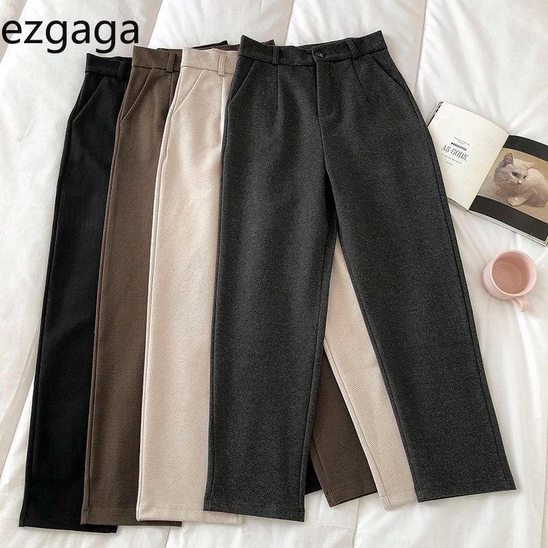 Ezgaga Hohe Taille Frauen Hosen Koreanische Mode Einfache Feste Gerade Lange Erholung Reißverschluss Feste Lose Jogger Büro Lady Cargo Hosen
