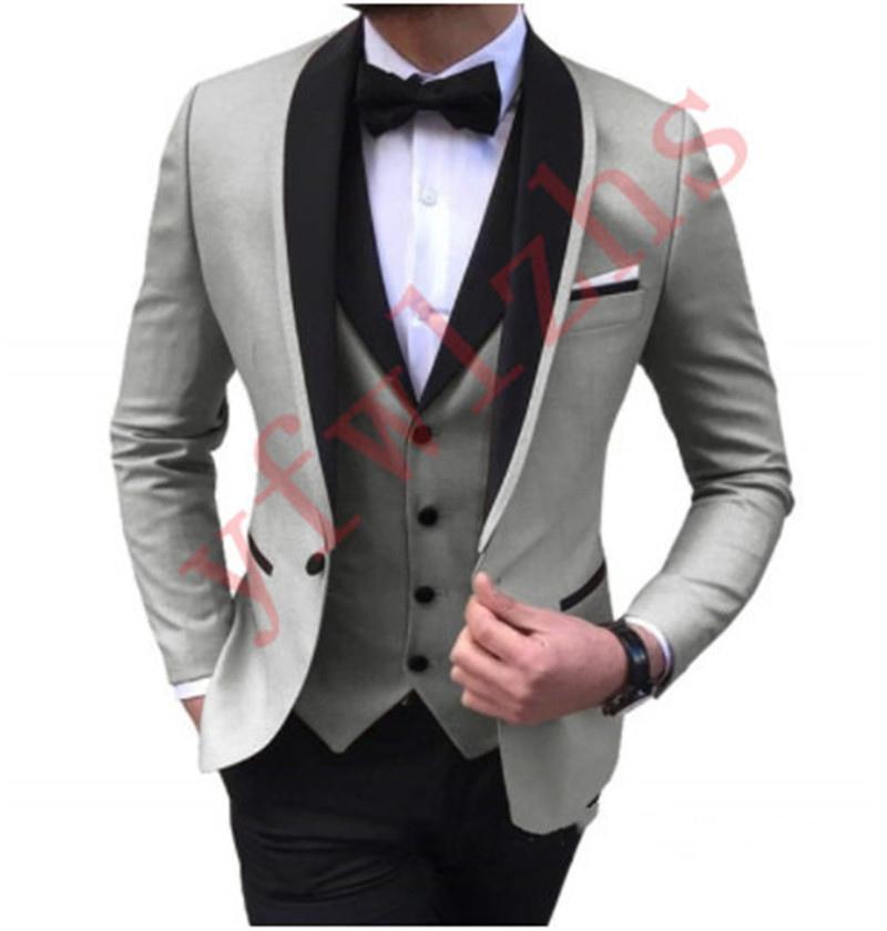 Handsome Groomsmen One Button Groom Tuxedos Shawl Lapel Men Suits Wedding/Prom/Dinner Man Blazer (Jacket+Pants+Tie+Vest) w606