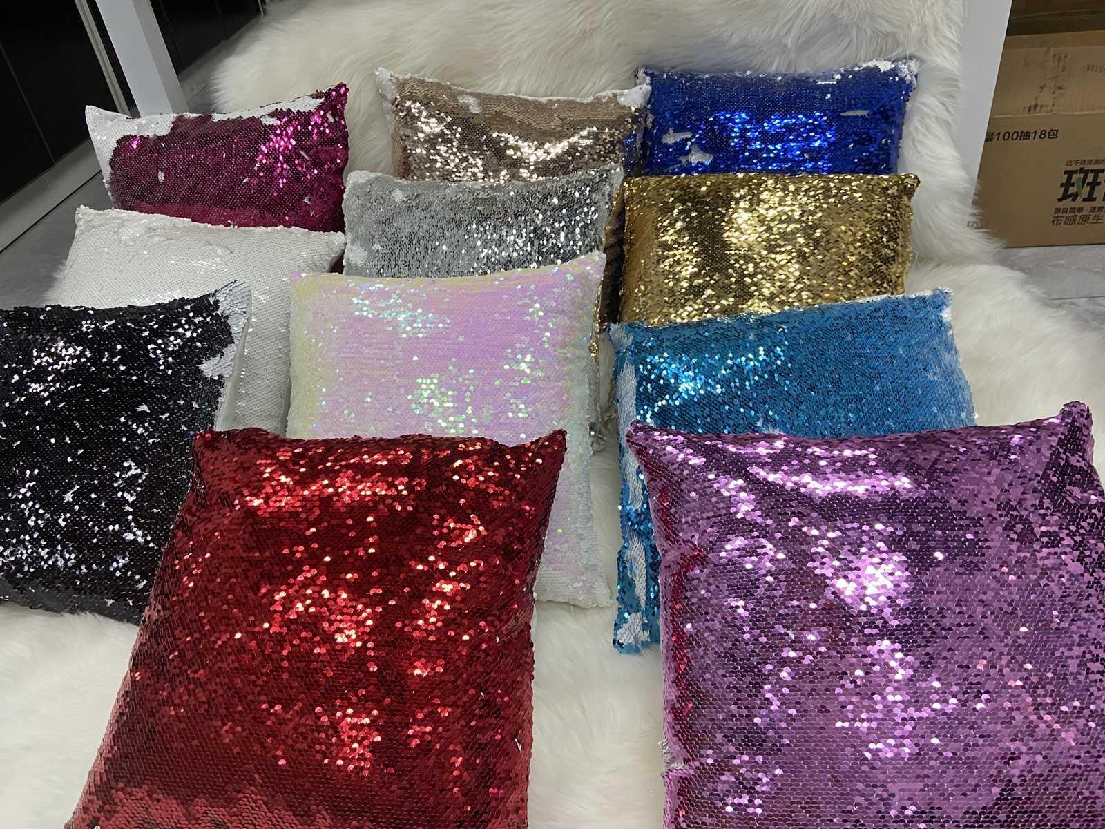10 pçs / lote Frete Grátis 16x16 polegada Sublimação Flip Lantejoulas Caso de travesseiro Decorativo Printable Calor Prima Capa de Almofada