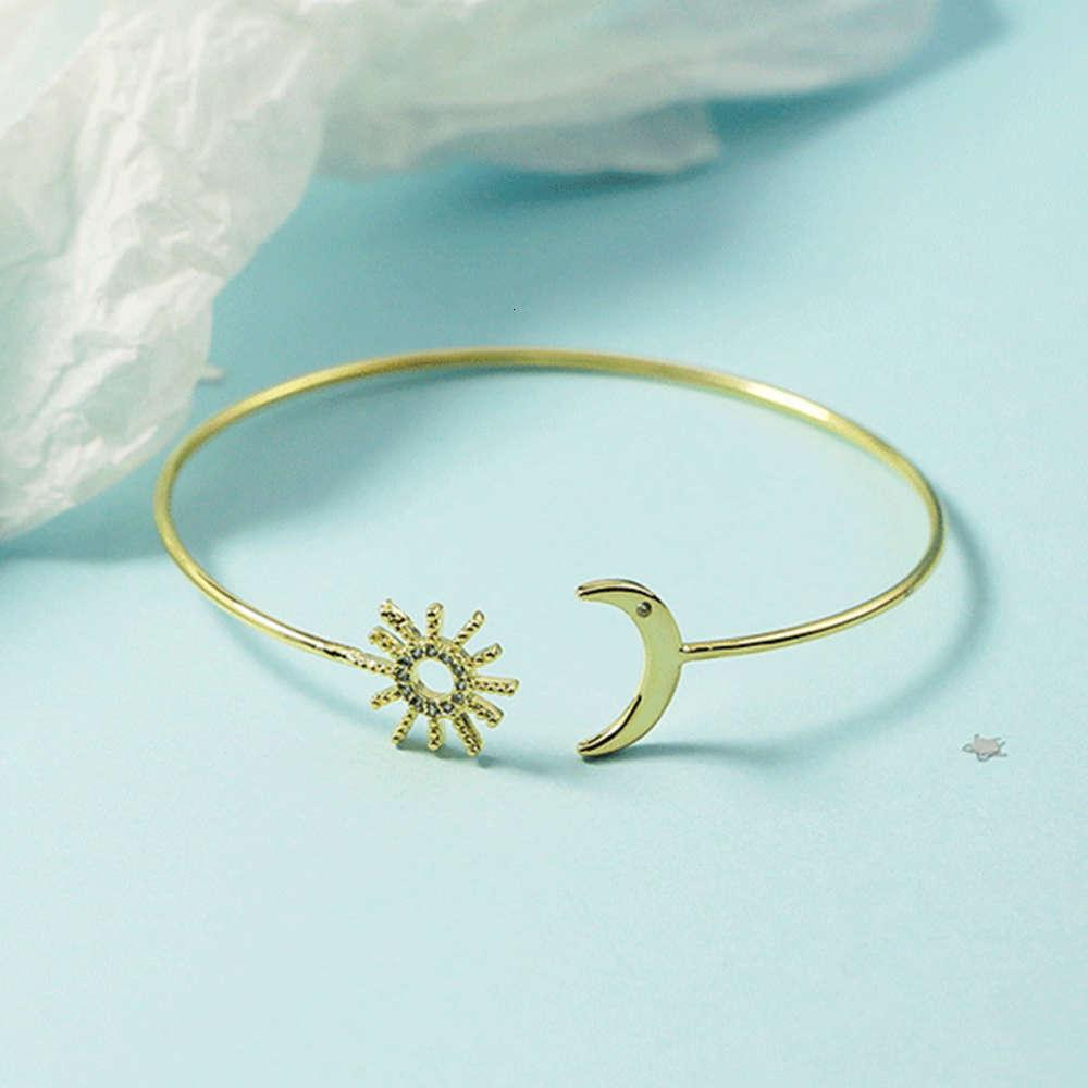 Evening party Japanese and Korean simple style 18K Gold Sun Moon Thin Bracelet Ring Jewelry women's fashion