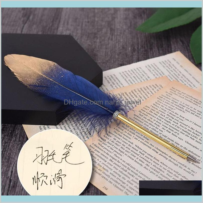 Fashion Accessories Cute Feather Ballpoint Pen Kawaii Signature Ball Point Pens Stationery For Kids Student Gift School Supplies Bbqfp 6Hzni