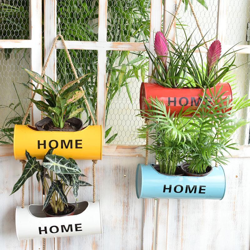 Duvar Asılı Halat Demir Asılı Saksılar Balkon Bahçe Bitki Ekici, Duvar Metal Kova Çiçek Sahipleri
