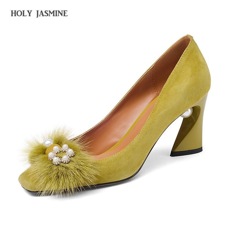 Chaussures de robe 2021 Spring Summer Kid daim femmes talons hauts talons gladiateur Sandales Perles Sangle Pumps Point Toe Sexy Sandalia Feminina