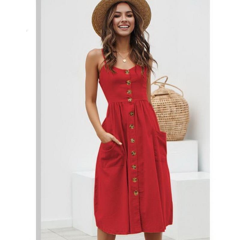 2021 Nuevo botón de verano elegante en v cuello con bolsillo Midi Casual Spaghetti Walless Women QQ2D