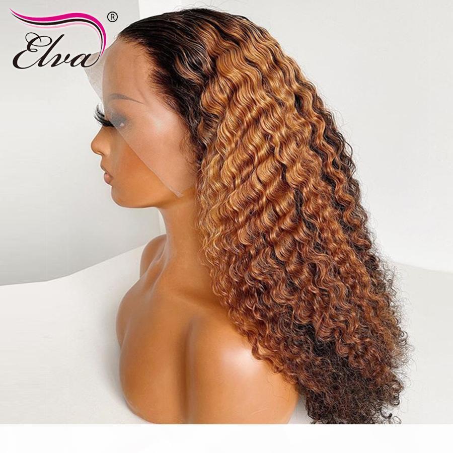 OMBRE LACE Frente Pelucas de cabello humano Rizado 13x6 Encaje Peluca frontal de encaje Planera Peluca con pelo Bebé Elva Remy Peluca de pelo