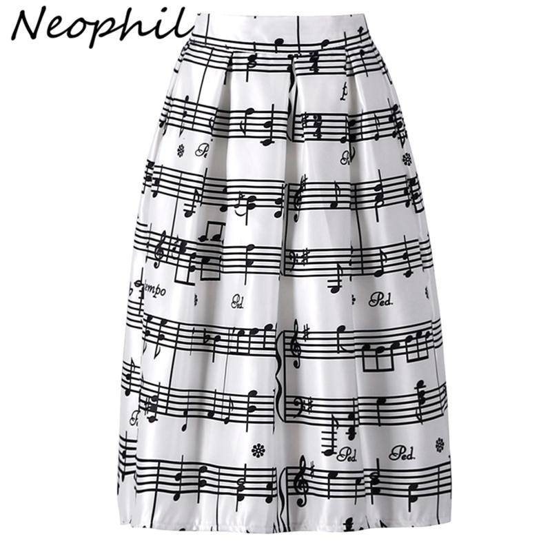 Néophil été piano musique note melody impression haute taille robe de bille plissée satin évasé femme midi jupes tutu Saia S08024 210315