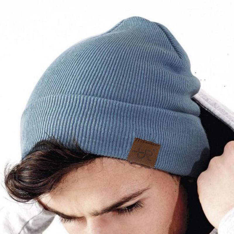 1 PCS Beanie Hat Urgentman Pu Label Casual Hiver Chapeaux pour hommes Femmes Mode Chapeau tricoté Solide Hip-Hop Beanie chapeau Unisexe Cap