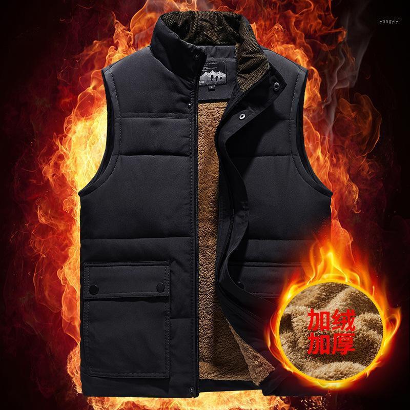 Открытые футболки тактические зимние мужчины плюс бархаткуют теплый мульти карманный жилет
