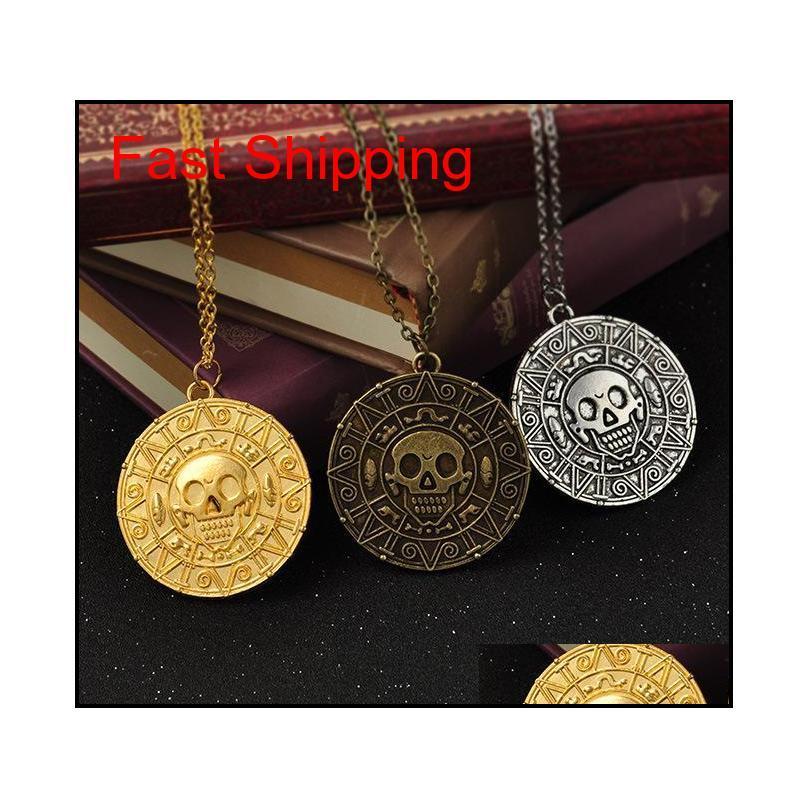 Vintage Bronce Oro Moneda Pirata Charms Aztec Collar de Monedas Película Hombre Colgantes Collares para Lady XMAS GI Qylkkk DH_Seller2010