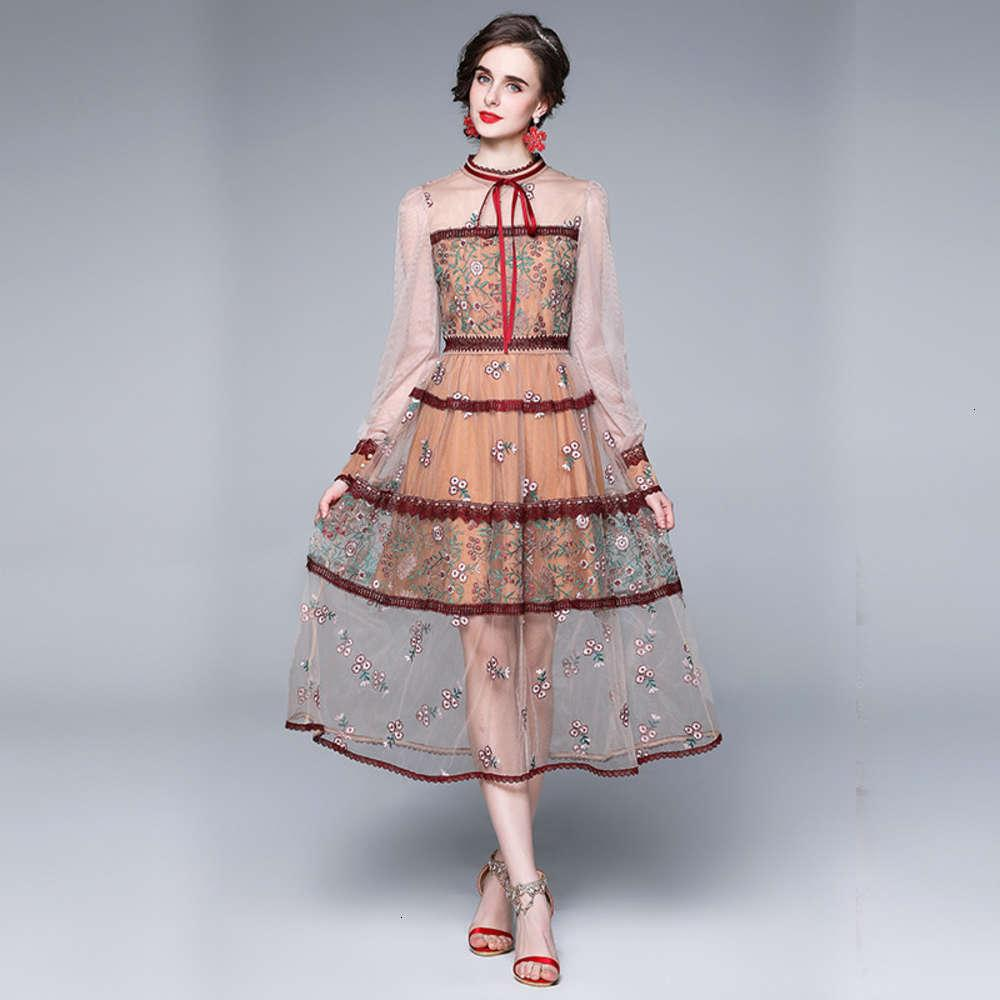 2021 весеннее платье новое женское платье сетки тяжелая промышленность вышивка с водным растворимым цветок тонкий подходит для знаменитости темпераментное длинное платье