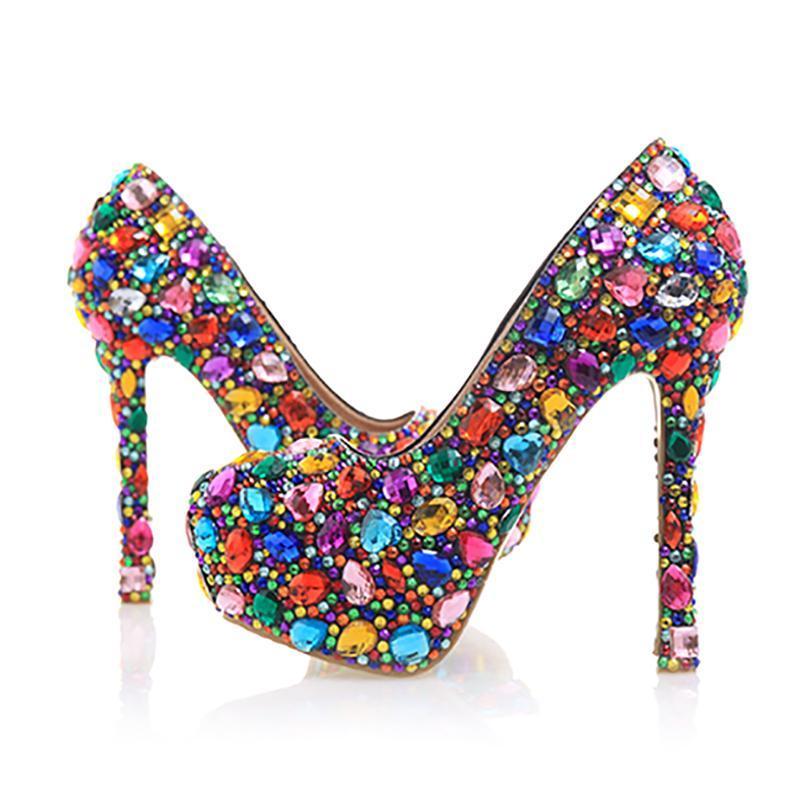 High Heels Bunte Kristall Frauen Hochzeit Schuhe Plattform Handgemachte Wasserdichte Pumps Bridal Schuhe Echtes Leder Pumps Große Größe