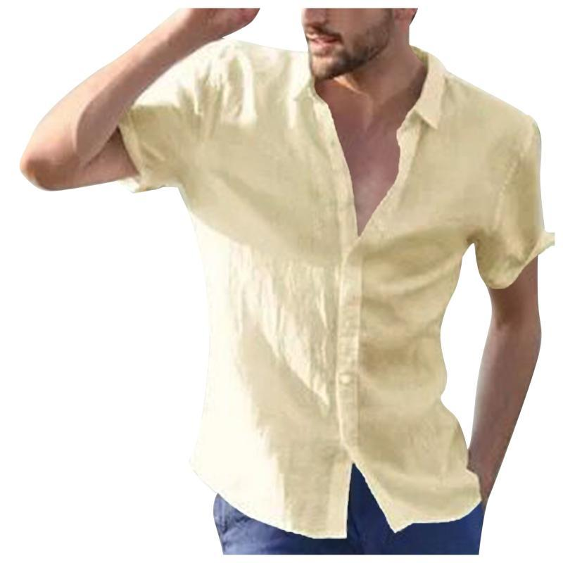 Men's Casual Shirts Men Hawaii Cotton Linen Button Down Lapel Collar Summer Short Sleeve Loose Blouse Plain Over Sized Shirt With Pocket 5xl