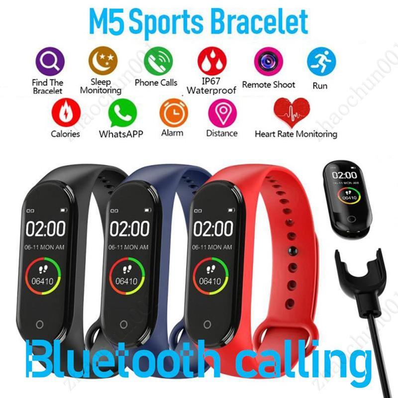 M5 Pantalla colorida Smart Band Fitness Tracker Watch Pulsera deportiva Pulsera cardíaca Presión arterial Monitor de banda inteligente Monitor de salud Envíe libre