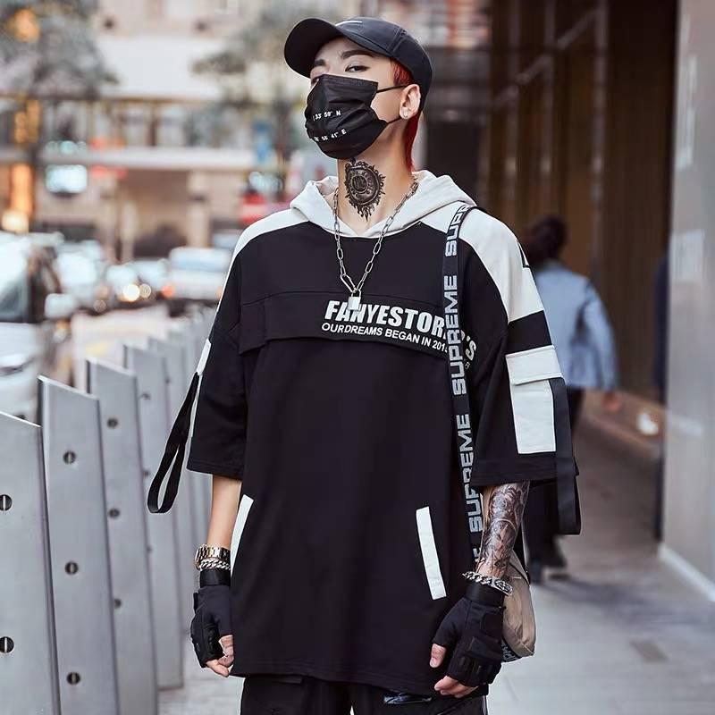 2021 New Homens Hip Hop T Camisa Street Street Streetwear Harajuku Camiseta Vero de Es Dimensões Preto Tops T-shirt com Capuz Coreano 51ls