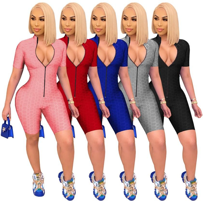 Summer Women Solid jumpsuits yoga rompers Short Sleeve outfits Sexy one Piece short Leggings Nightclub wear Zipper front opening DHL 4605