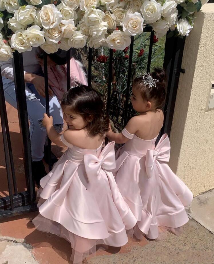Cheap Pink Flower Girls' Dresses For Weddings Off Shoulder Handmade Big Bow Sash Baby Child Birthday Party Gown First Communion Dress
