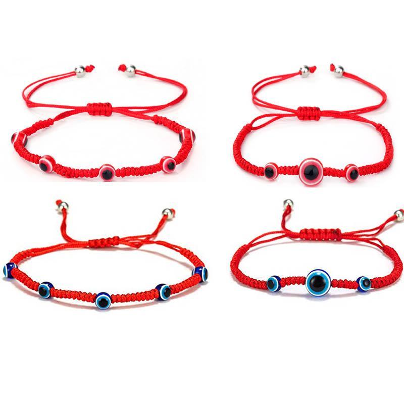 اليدوية للتعديل الأحمر حبل سلسلة سحر أساور محظوظ العين التركية مضفر الشر الأزرق عيون سوار للنساء رجل أساور الأزياء والمجوهرات عيد الحب هدية