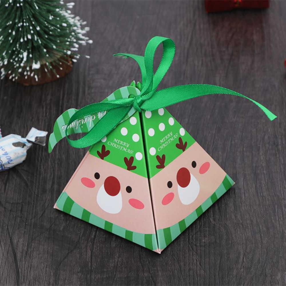 10 adet Noel Ambalaj Hediye Çantası Şeker Kutuları Çocuklar Için Doğum Günü Düğün Şekeri Kutusu Ambalaj Kağıt Torbalar Olay Noel Parti Malzemeleri Y0712