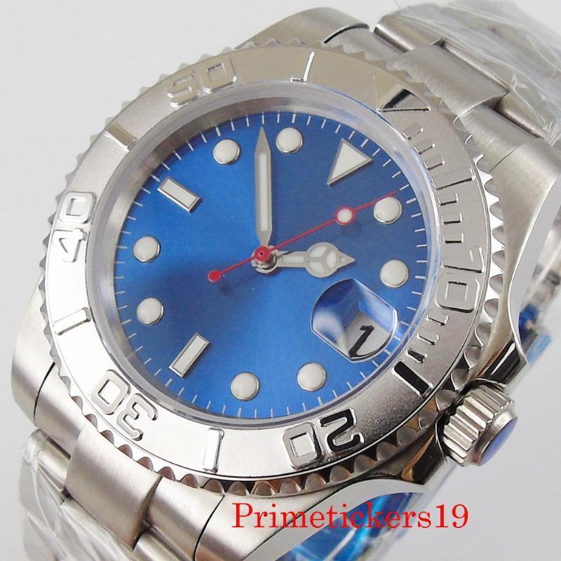 المعصم NH35 Miyota 8215 الحركة التلقائية الأزرق معقم الاتصال الهاتفي الياقوت الزجاج البلورات الرجال ساعة اليد مؤشر ماء الفاخرة