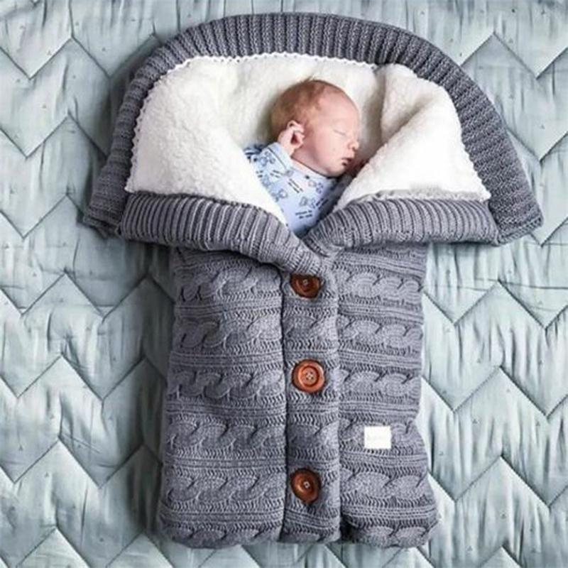 Recém-nascido infantil bebê dormindo cobertor crochet inverno quente suave swaddle envoltório saco de dormir cama ao ar livre carrinho de cama # G4 Y201009