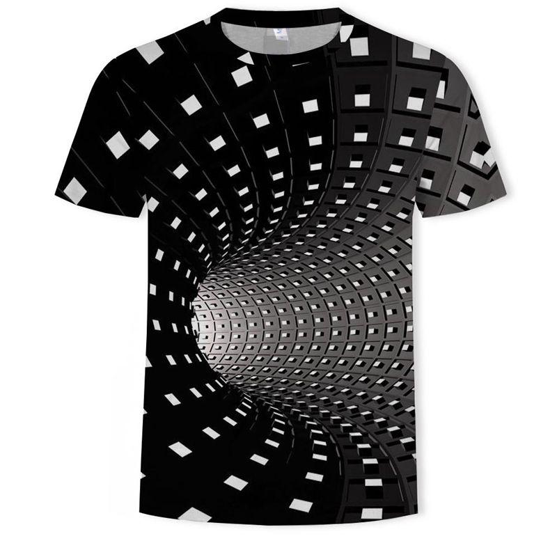 Mens Graphic Camiseta Moda 3 Digitas Tees Meninos Cópia Geométrica Casual Padrão Irregular Hipnose Tops EUR Plus Size XXS-5XL