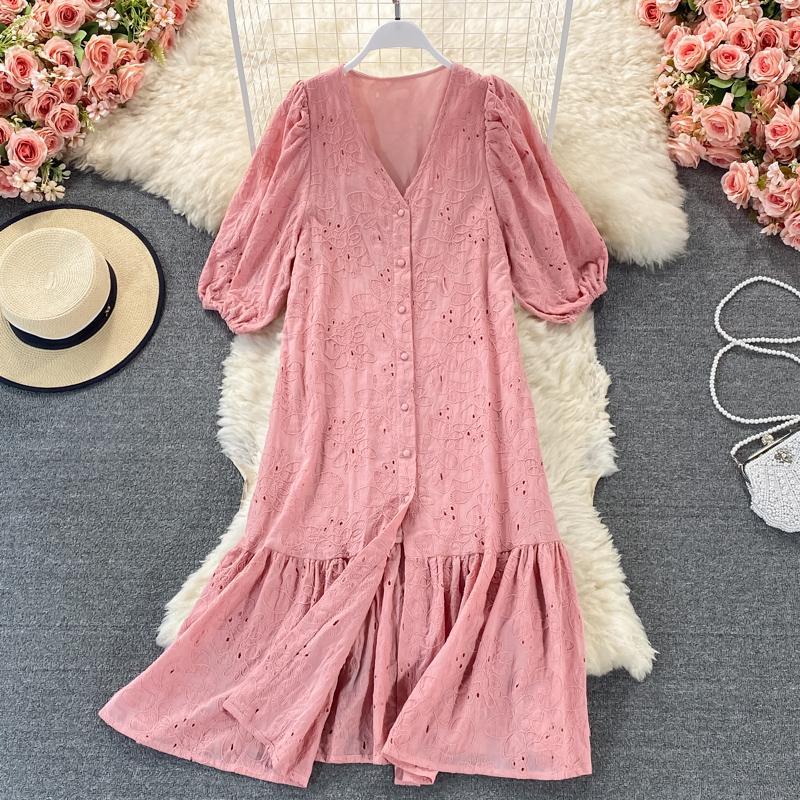 Nuova Summer Casual Solid Breve Lady Dress A Vestito Una linea V Collo Scava Out Single Breasted Donne Abiti da metà vitello da donna 2021